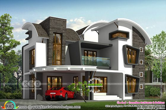 Unique curvy roof 4 bedroom house rendering