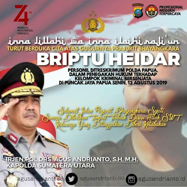 Kapolda Sumatera Utara, Irjen Pol Drs Agus Andrianto, SH., M.H. Ucapkan Belasungkawa Untuk Briptu Heidar