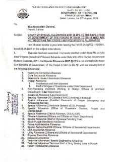 CLARIFICATION REGARDING ELIGIBILITY OF SPECIAL ALLOWANCE 2021 TO THE EMPLOYEES FROM BS-01 TO BS-19