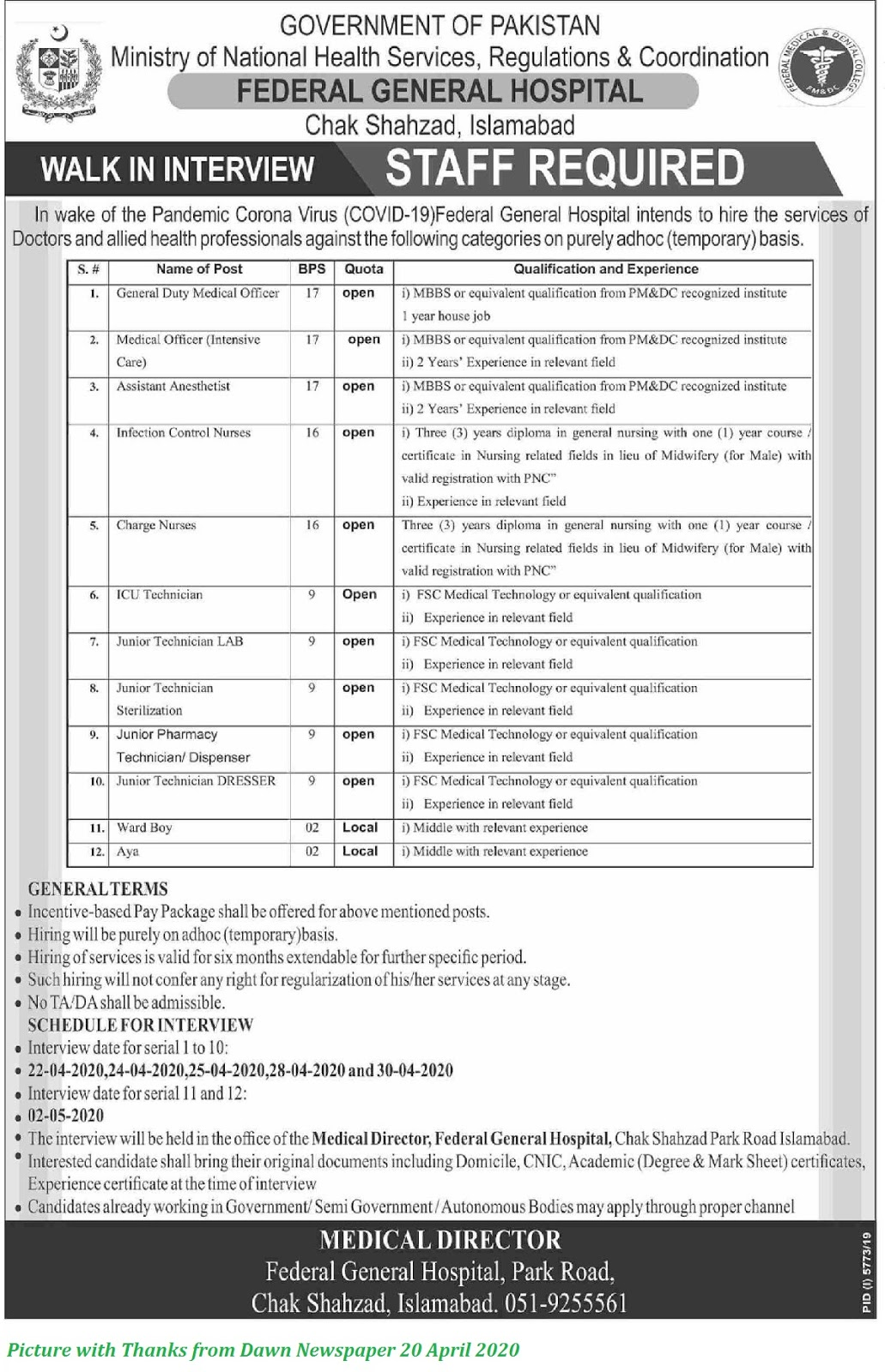 Federal General Hospital Islamabad Jobs 2020 - Various Medical Jobs Announced on Oper Merit for Males & Females
