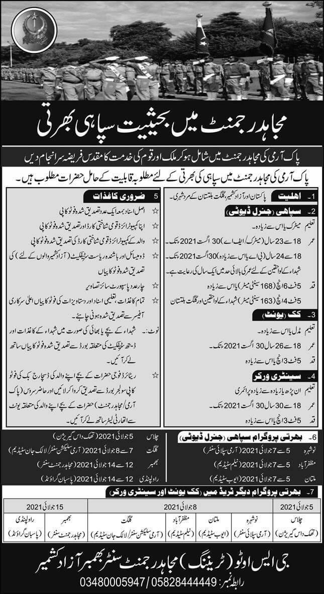 Pak Army Mujahid Force Jobs 2021 Online Registration