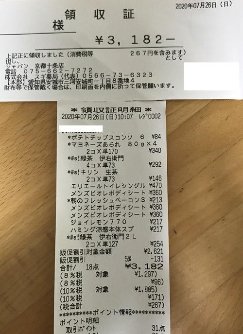 ジャパン 京都十条店 2020/7/26 のレシート
