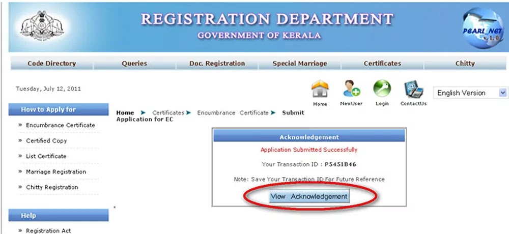 View Acknowledgement for Encumbrance Certificate