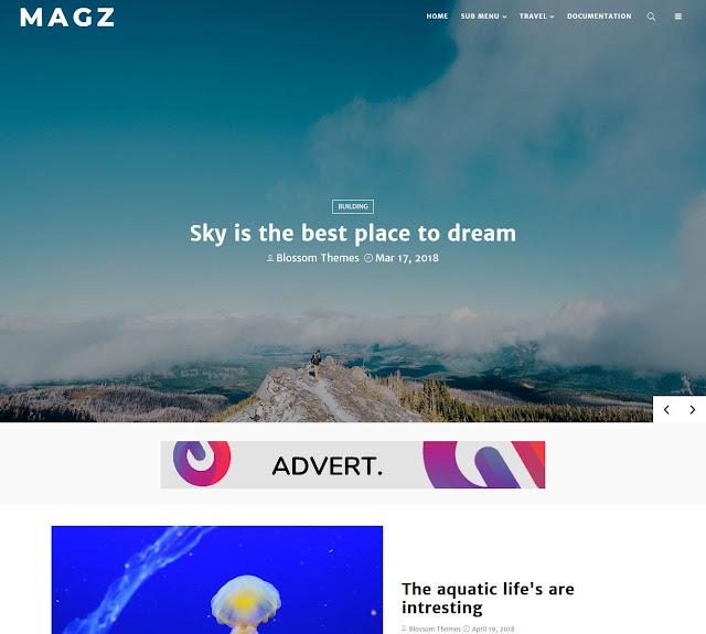Download Theme Blossomtheme Premium MagZ Blogger Blogspot Template Gratis
