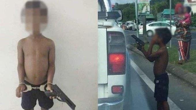 Viral Foto Pengemis Cilik Todongkan Pistol ke Mobil saat Lampu Merah, Pistolnya Didapat dari Ibu