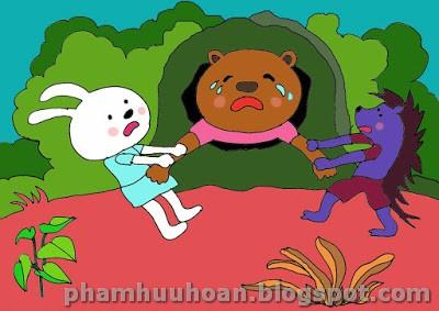 Cái đầu của gấu thì chui ra ngoài được còn cái bụng căng tròn thì mắc kẹt ở  trong hang !