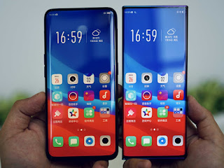 Comparison Oppo find X screen and waterfall screen