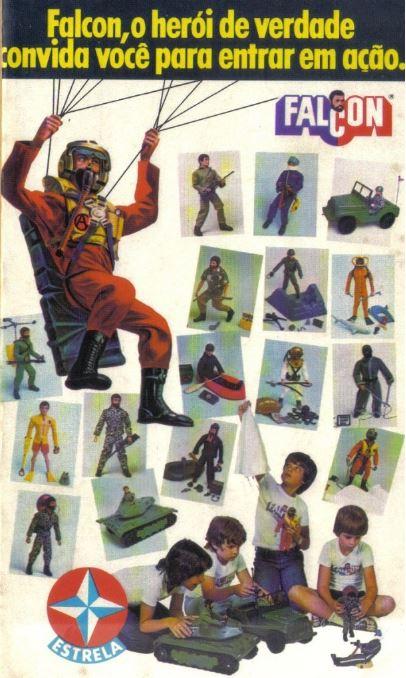 Propaganda do Falcon da Estrela, apresentando sua linha de aventura no final dos anos 70