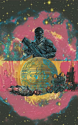 A space soldier holding a rifle and two spaceships heading toward a planet.