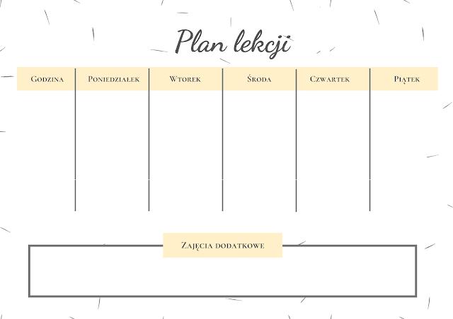 Back to school: plan lekcji do druku