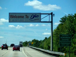 Welcome sign at Ohio border near Lake Erie