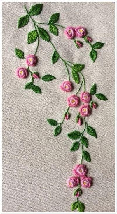 10 Contoh Gambar Motif Bordiran Bunga Kecil Cocok Untuk Pinggiran