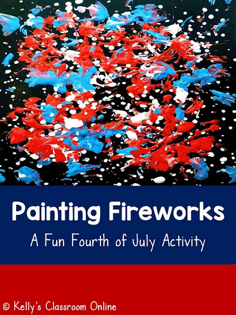 Painting red, white, & blue fireworks. Preschool and kindergarten.  Process art activity. Fun for the Fourth of July. Can also be used for Memorial Day, Veterans Day, and Labor Day. #kellysclassroomonline