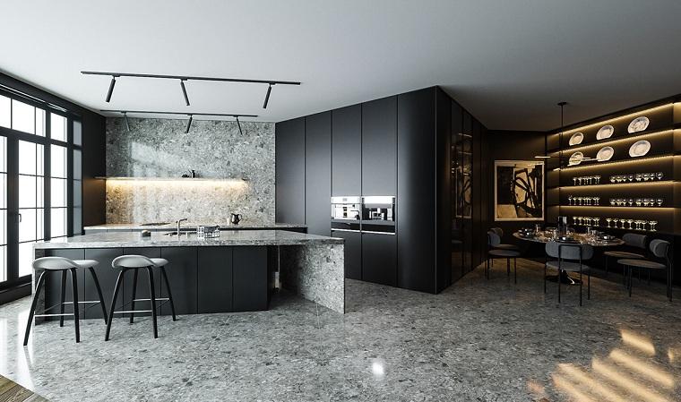 Diseño de cocinas - 30 ideas de cocinas con muebles de color negro