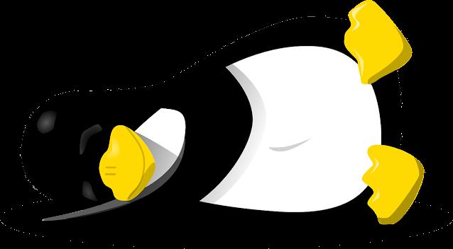 sleeping linux penguin