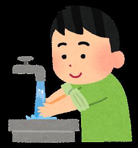 手洗いのイラスト(水ですすぐ)