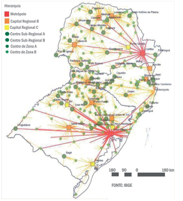 O mapa a seguir expõe um aspecto importante da Região Sul do Brasil para a compreensão da produção do espaço geográfico.