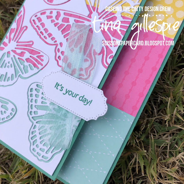 scissorspapercard, Stampin' Up!, CASEing The Catty, Brilliant Wings Dies, Ornate Frames Dies, Sweet As A Peach, Colour Families DSP