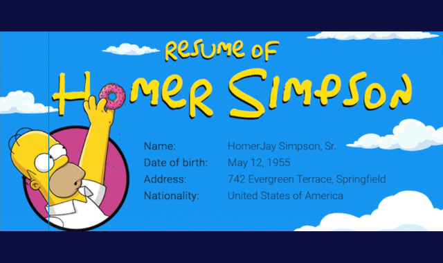 The Simpsons: Homer Simpson's Curious Resume