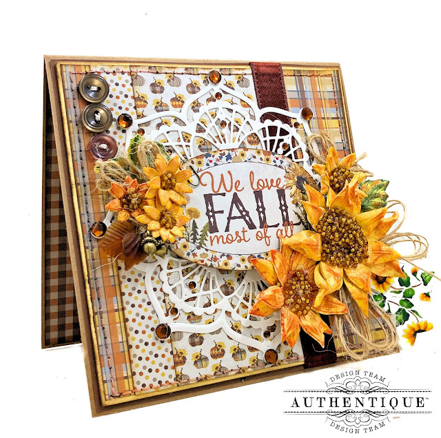 Fall Sunflowers card Authentique Splendor by Kathy Clement