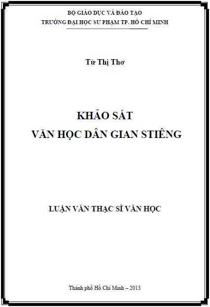Khảo sát văn học dân gian Stiêng