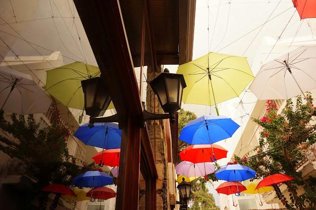 Bodrum, Turkey, colorful umbrellas