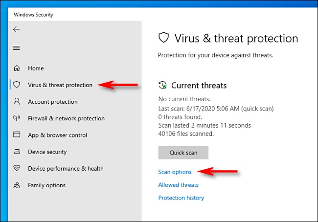scan option windows defender