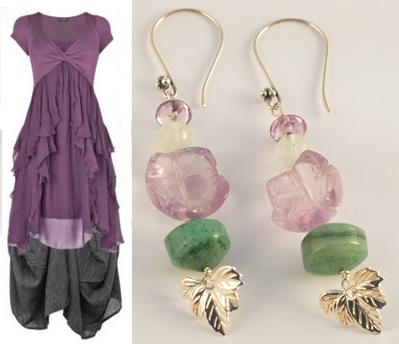 orecchini con fiore in ametista, giada, avventurina e piccola foglia d'argento
