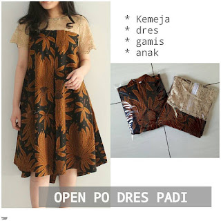 dress batik padi jokowi