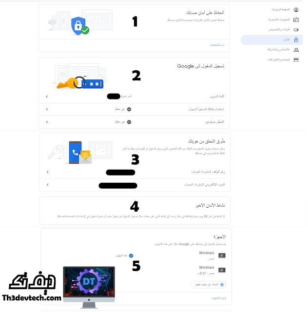 خيارات الامان فى حساب Google