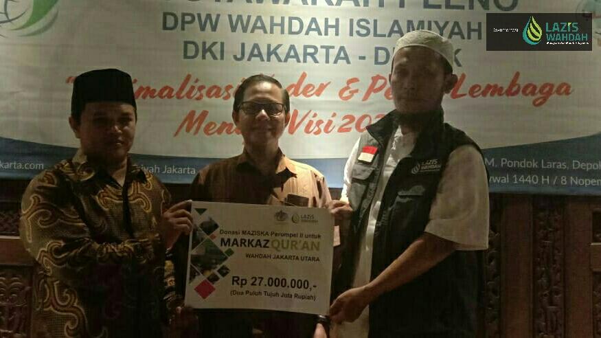 Maziska Perumpel II-LAZIS Wahdah Salurkan Donasi Untuk Markaz Qur'an