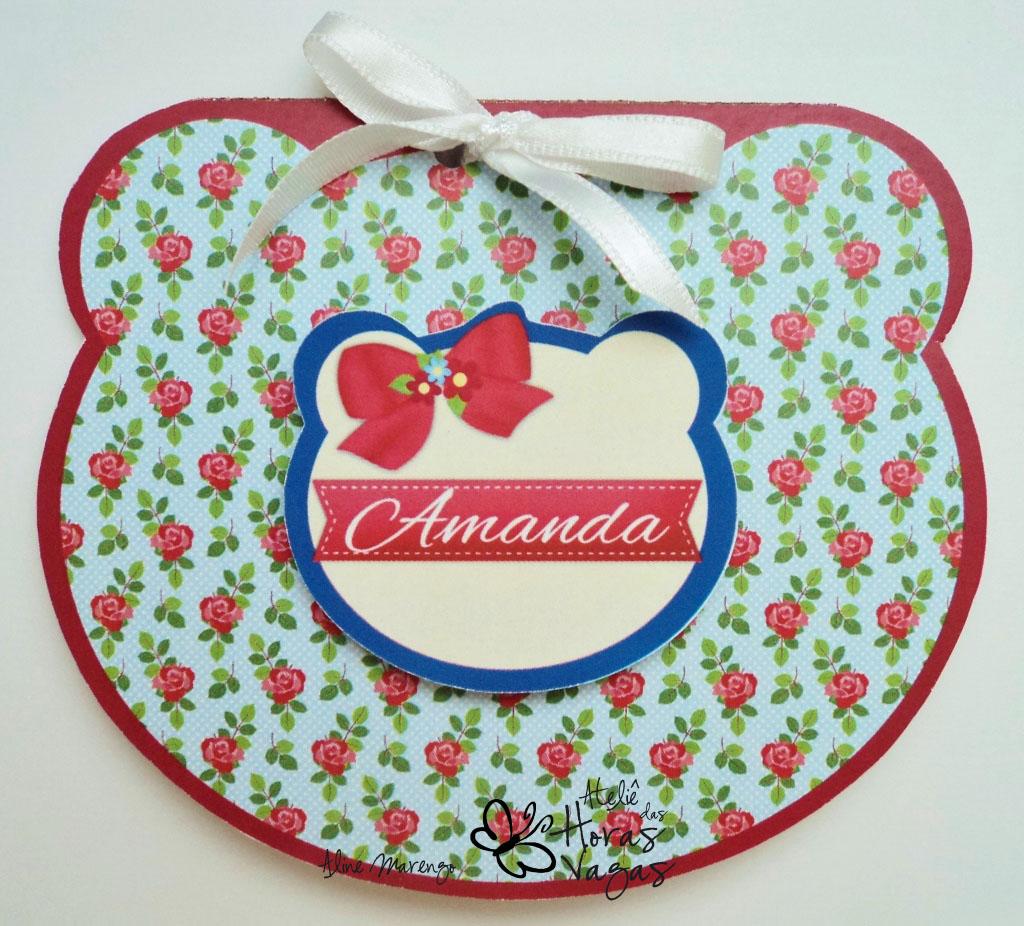 convite artesanal cabeça urso ursinho floral provença vermelho azul menina feminino bebê aniversário infantil