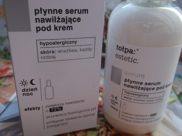 płynne serum nawilżające pod krem oraz płyn micelarny tołapa