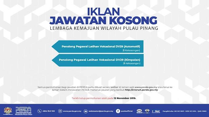 Jawatan Kosong Terkini di Lembaga Kemajuan Wilayah Pulau Pinang.