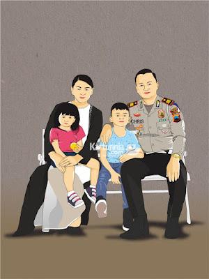 Karikatur Vector Keluarga Polisi