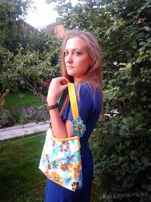 сумочка из хлопка цветы