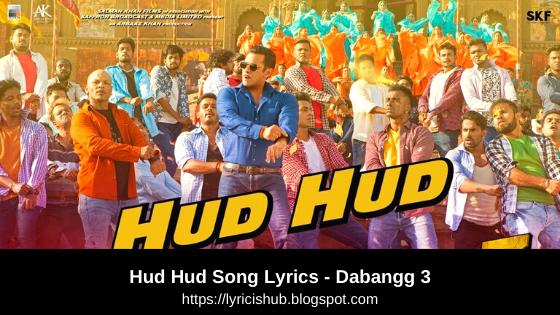 Hud Hud Song Lyrics - Dabangg 3 | Salman Khan (Lyricisshub)