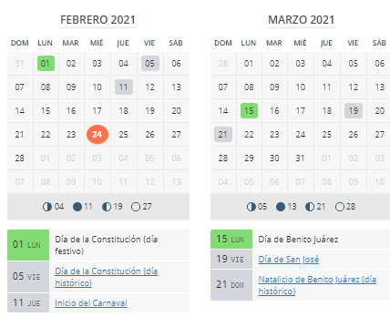 CALENDARIO FEB-MARZO 2021 MEXICO