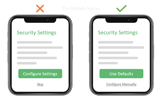 Fluency Heuristic - Users expect products to provide them with ready-to-use defaults - the mobile spoon
