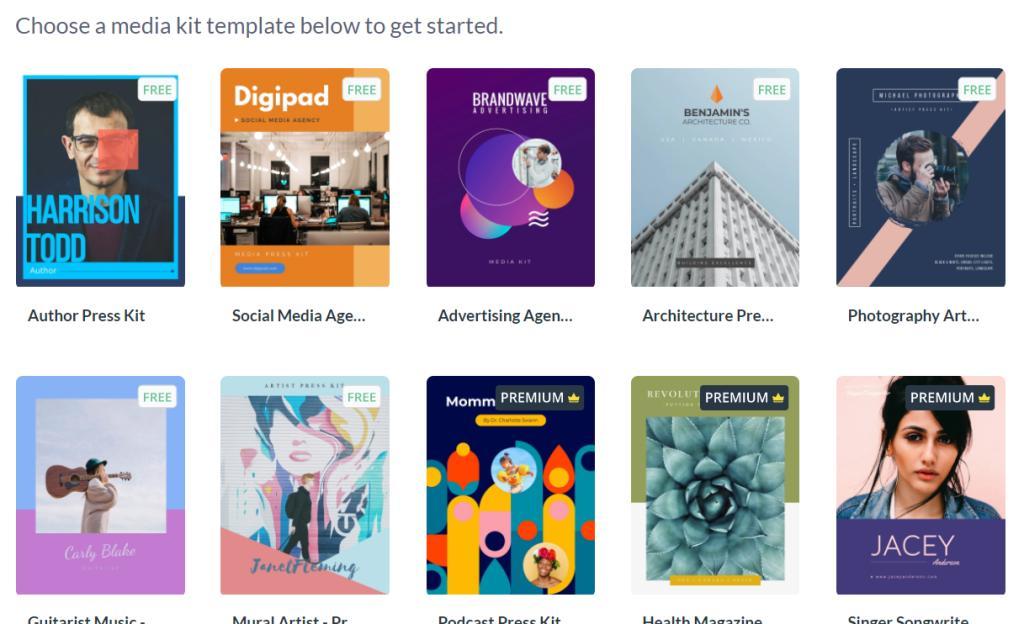 Different media kit templates