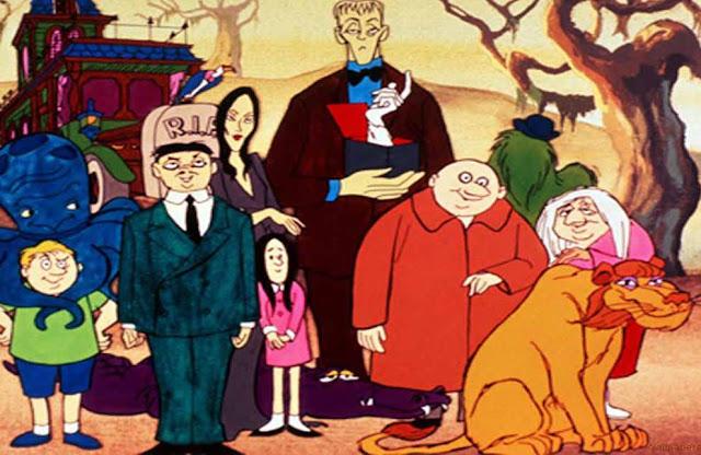 Addams personagens em desenho de 1973