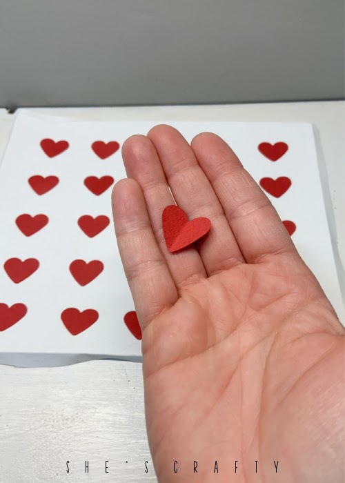 How to make a reverse canvas Valentine Heart Art with paper punches