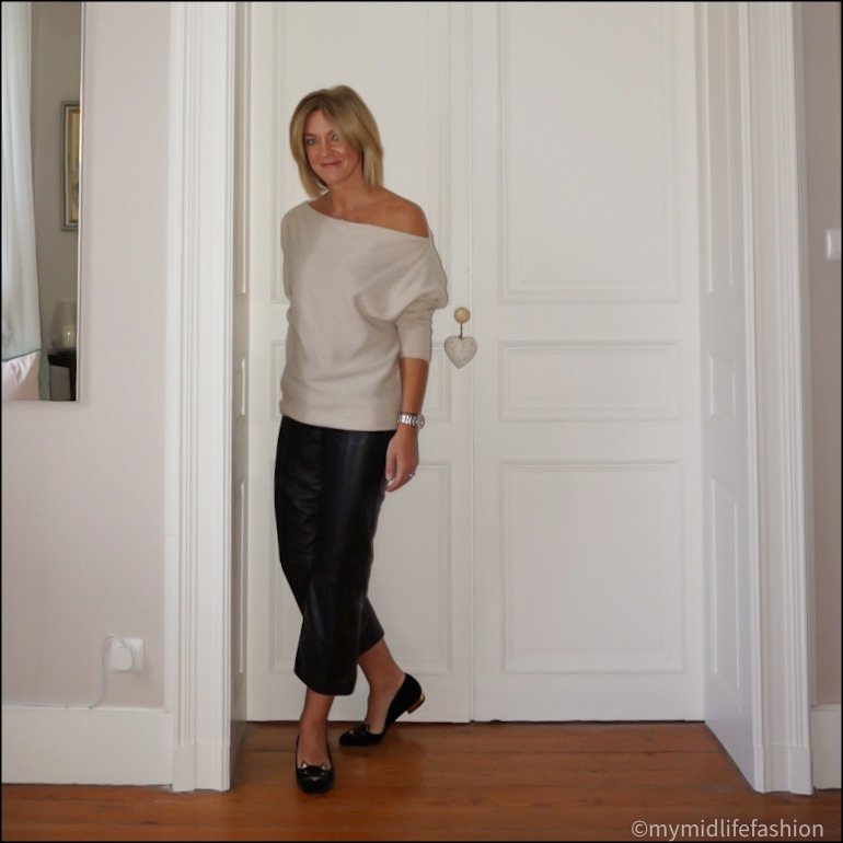 my midlife fashion, Charlotte Olympia kitty  cat face embroidered loafers, marks and Spencer cropped leather trousers, zara cashmere off the shoulder jumper