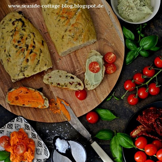 Rezept Foccacia, TomatenButter, Avocado-Ziegenkäsecreme