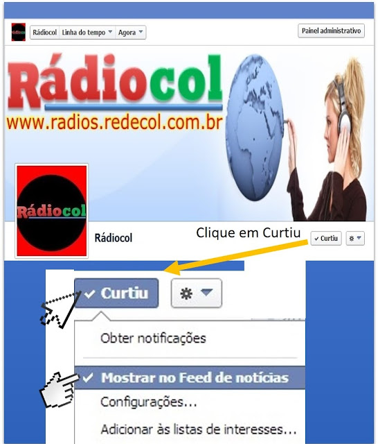 Curta Rádiocol no Facebook
