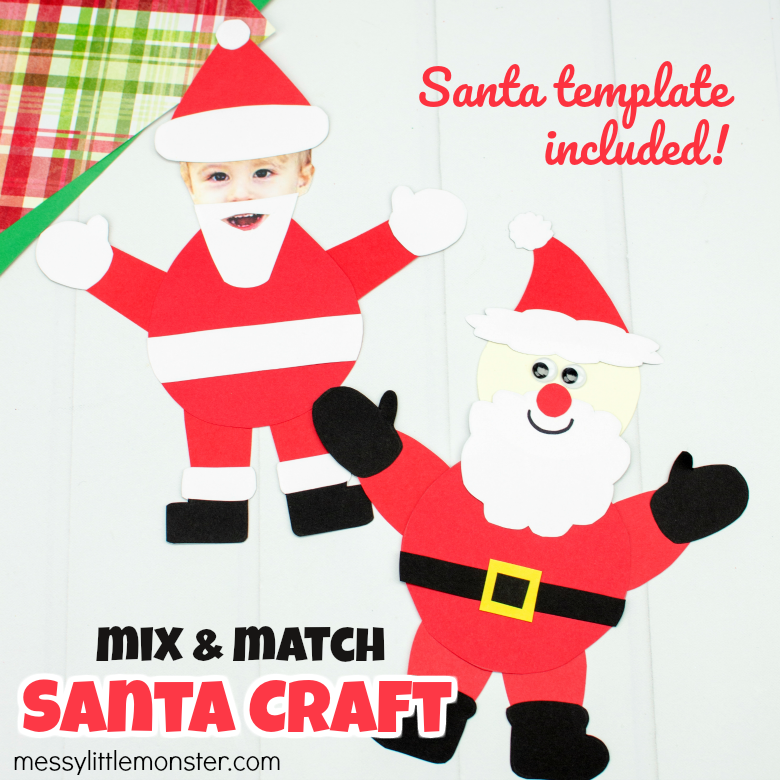 Mix and Match Paper Santa Craft (with Printable Santa Template)