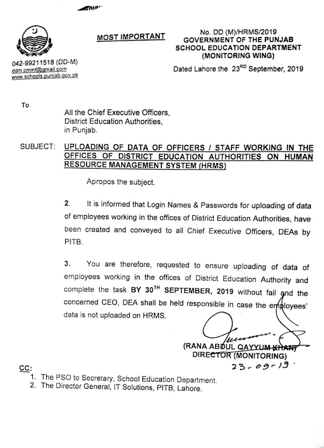 UPLOADING OF DATA OF OFFICERS AND STAFF IN THE OFFICES OF EDUCATION DEPARTMENT ON HRMS