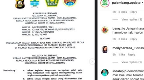 Mendadak Warga Palembang Dilarang Salat Id di Masjid, Netizen Emosi