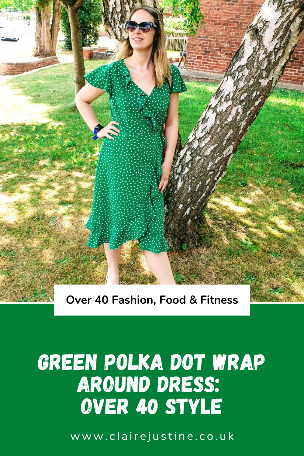 Green Polka Dot Wrap Around Dress: Over 40 Style.