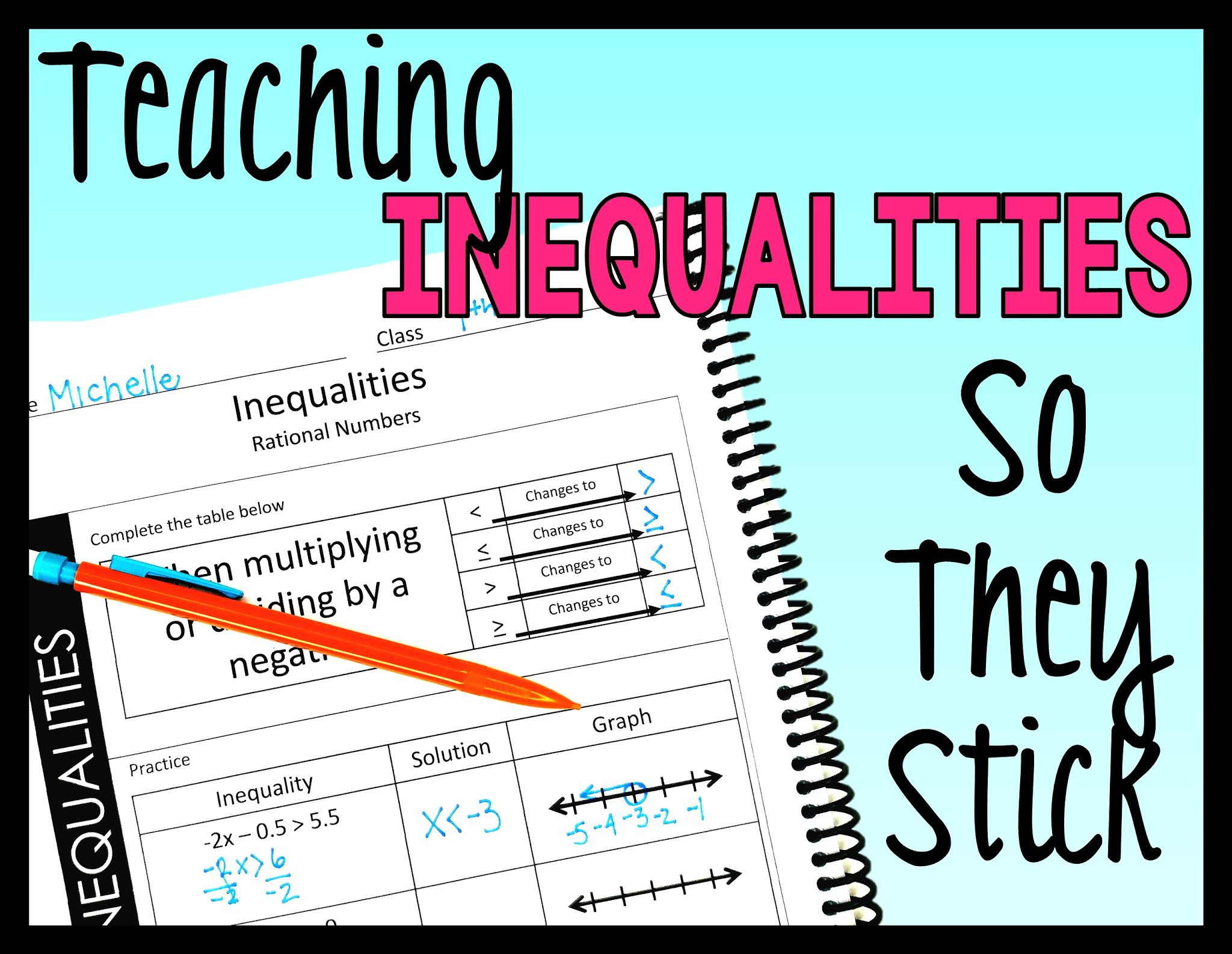 Solving and graphing inequalities notes with pencil